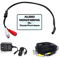 VideoSecu Microphone High Sensitive Preamp Audio Mic Sound Voice Pickup Device Kit with Extension Cable and Power Supply BPK