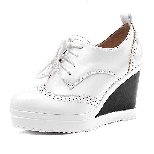 calzature Chiusa Materiale Punta Lacci Donne Rotonda Alto Morbido Solidi talloni Amoonyfashion Bianco Pompe PpggYqa