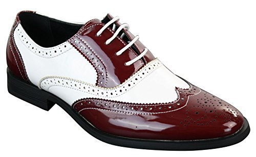 Mens Lace Patent Brogues Shoes Gatsby Classic 1920's Shiny White Black Red -