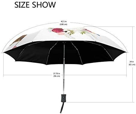 Akiraki 折りたたみ傘 レディース 軽量 ワンタッチ 自動開閉 メンズ 日傘 UVカット 遮光 アルパカ おもしろ 民族風 ホワイト 白 かわいい 折り畳み傘 晴雨兼用 断熱 耐強風 雨傘 傘 撥水加工 紫外線対策 収納ポーチ付き