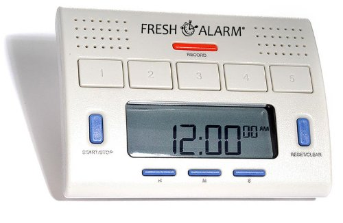 - FreshAlarm- 5 Alarm Voice Timer. Five Interval Timers each with Recordable Loud Voice Alarm. Easy to set timers. Interval up to 12 hours.