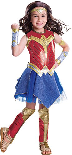 Superhero Outfit Women (UHC Girl's Wonder Woman Deluxe Outfit Funny Theme Kids Superhero Costume, Child L (12-14))