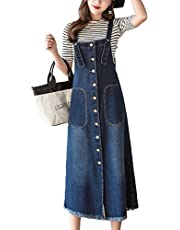 Flygo Womens Button Front Midi Long Denim Jean Jumpers Overall Pinafore Dress Skirt