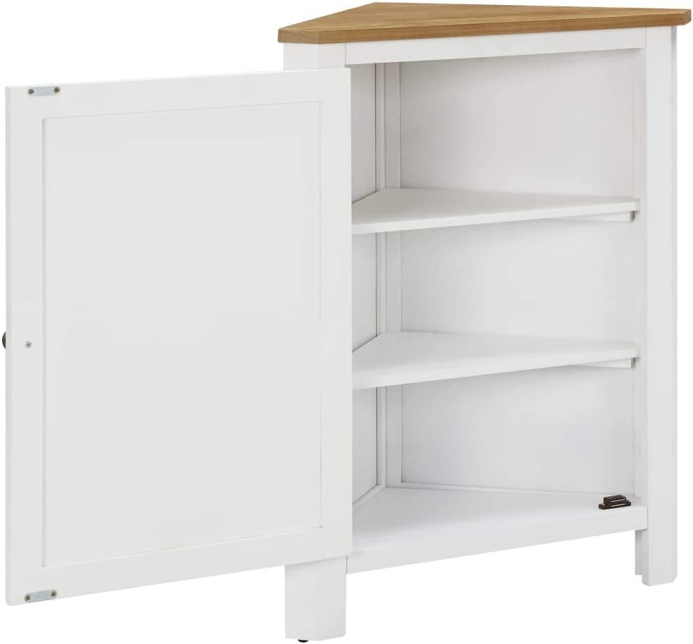 vidaXL Solid Oak Wood Corner Cabinet Wooden Display Shelf for Living Room Home Storage Organiser Unit Sideboard Cupboard Furniture