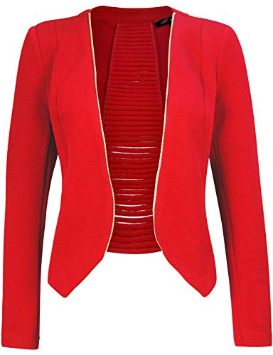 Michel Women's Open Front Lightweight Cardigan Blazer Jacket RED Small