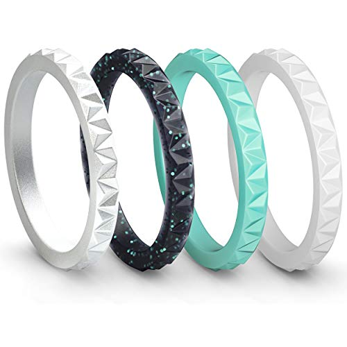ThunderFit Womens Triangle Diamond Stackable Rings 4 Pack Thin Silicone Wedding Rings (Black Teal Glitter, Teal, Women Silver, White, 4.5-5 (15.7mm)) ()