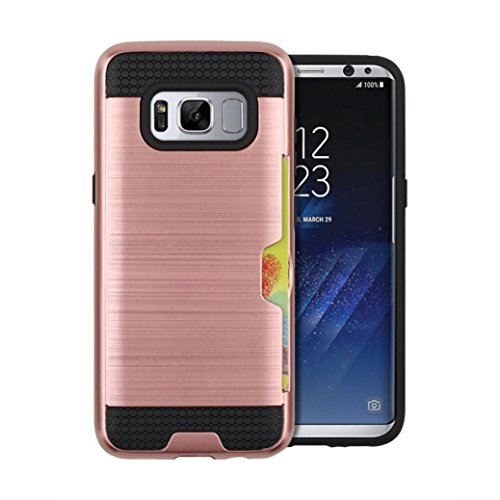 Price comparison product image For Samsung Galaxy S8/S8 Plus, MNtech Phone Case With Card Pocket Hybrid Armor Case Cover (Rose Gold, For Samsung Galaxy S8)