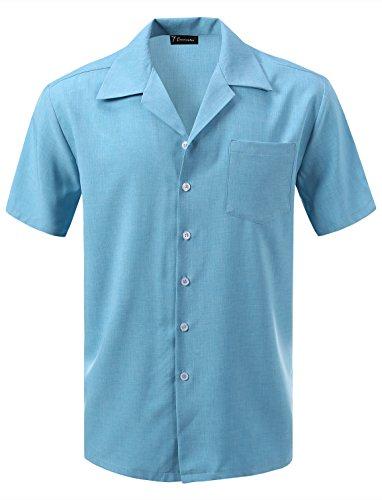 7 Encounter Men's Camp Dress Shirt Light Blue Size 3XL - Light Blue Camp Shirt