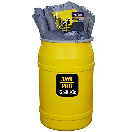 55 Gallon Universal Spill Kit, Pro Grade, 125 Pc: Metal Lever Lock Drum, 100 Heavy Duty Pads 15