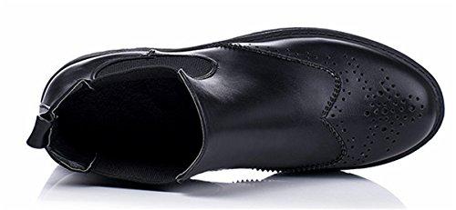 YE Damen Flache Stiefeletten Bequeme Retro Klassische Brogues Chelsea Ankle Boots PU Leder Herbst Winter Schuhe Schwarz