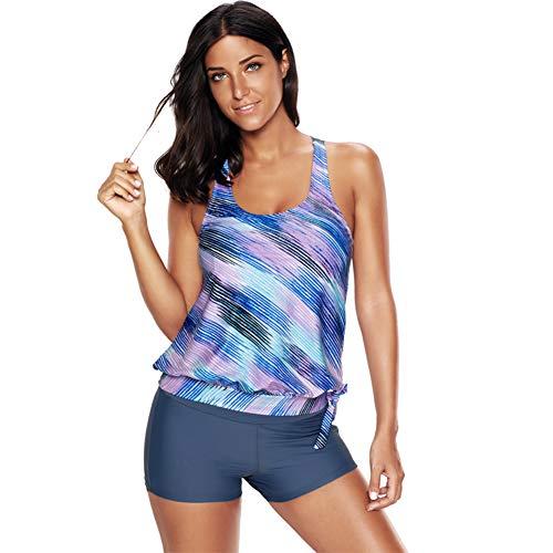 Women Two Pieces Striped Printed Tankini Top Set Blouson Tankini with Boyshort Swimsuit (XXL) Blue (Mix And Match Tankinis)
