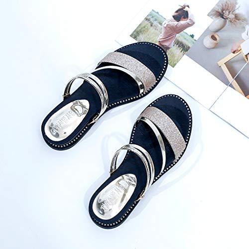 Sandales Femme Diapositives yesmile Plat Chaussures Plates Outdoor Gold De Pantoufles Des Avec rqSrE58