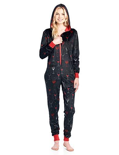 Ashford & Brooks Women's Mink Fleece Hooded One Piece Pajama Jumpsuit - Black Wine - -