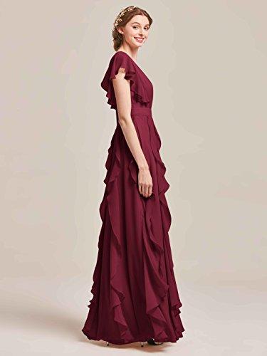 Dress Long V Burgundy Dress Dresses Party Wedding for Bridesmaid Chiffon AWEI Women's Prom Neck Evening Tq5nPP