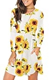 Unbranded* Women's Floral Print Long Sleeve Pocket Casual Loose T-Shirt Dress Floral Sunflower White X-Small