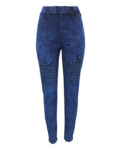 Elasticos Jeans Mujer Azul Leggings Boyfriend Cintura Biker Up Push Vaqueros Oscuro Guiran Jeggings Alta Pantalones tFTx11