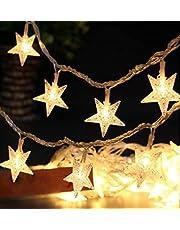 Buffer AA93YT1092 10'lu Rose Gold Yıldız Metal Yılbaşı Süs Dekoratif Pilli Led Işık Aydınlatma, Renkli, Medium