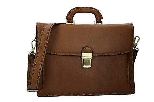 Cartella professionale borsa ufficio marrone portadocumenti in vera pelle VH134
