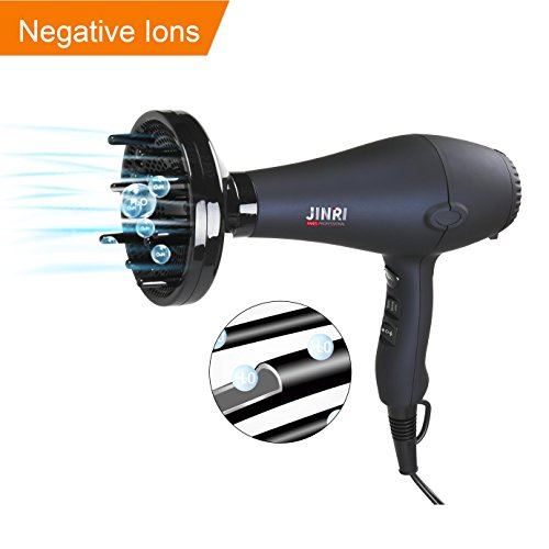 Jinri Professional 1875W DC Motor Light Weight Negative Ions Ceramic Ionic Hair Dryer ,With 3 Heat 2 Speed With Cool Shot Button ,With Concentrator & Diffuser Low Noise ,Black