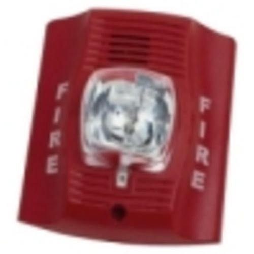 Horn Strobe, Wall, 2-Wire, Std Candela, Red
