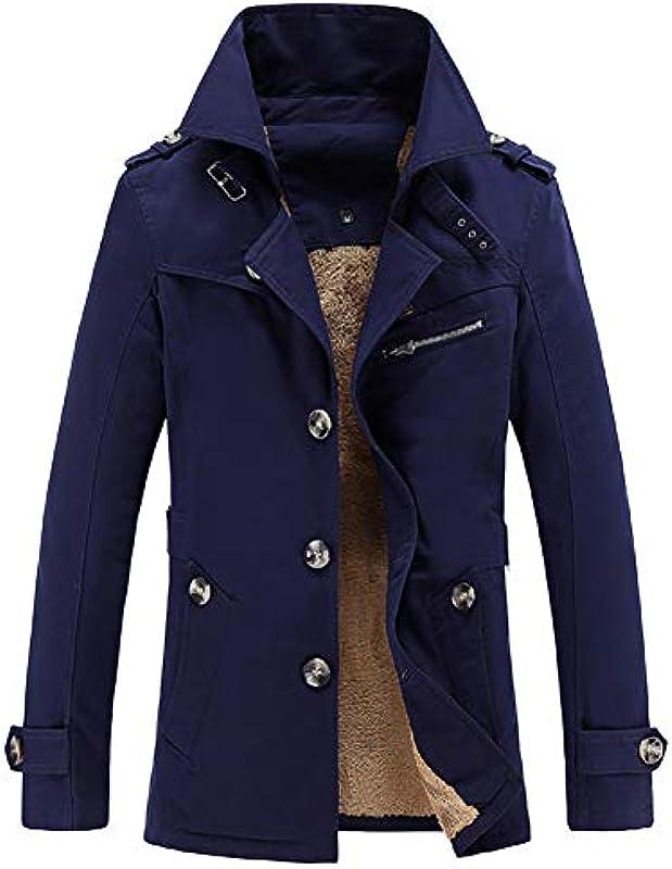 GITVIENAR Męska kurtka przejściowa, z długim rękawem, trencz, krÓtki, jednorzędowa, 100% bawełna, kurtka zimowa, dla młodzieży i dorosłych: Sport & Freizeit