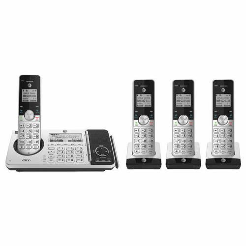 AT&T 4 handset Cordless Phone with answering System, Call Block, HD Audio, Bluetooth Connect to Cell, and Expandable up to 12 Phones