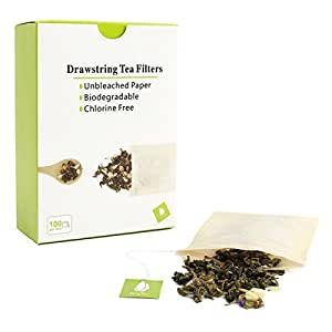 Tea Filter Bags with Drawstring, Disposable Tea Infuser, Paper Tea Bag Unbleached, 100 Count