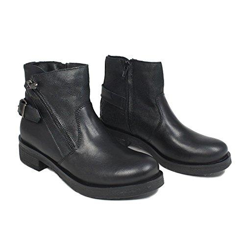 Donna Stivaletti Bassi Made Vera Personal 0321 Bikers Italy Stivali Boots Shoepper In Nero Pelle xZwYn1q4HC