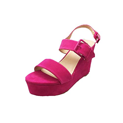SendIt4Me Ladies Strappy Open Toe Flatform Wedge Sandals Pink FMI7sy1