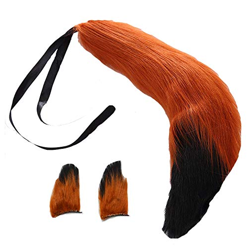Fox Plush Tails and Clip Ears Anime Spice and Wolf Halloween Cosplay Props Children Toys (Brown Black)