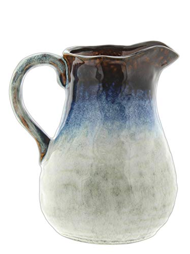 Distinctive Designs Ceramic Pitcher Vase with Blue Brown Glaze, 8