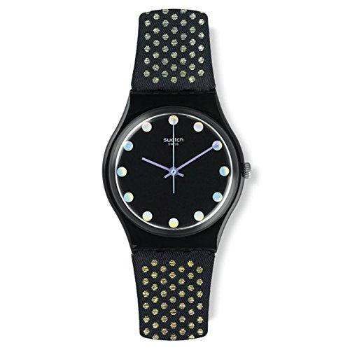 Swatch Women's Gent GB293 Black Nylon Swiss Quartz Watch