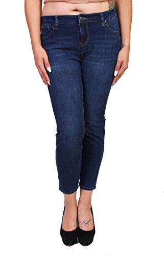 Celebrity Pink Jeans Women Plus Size Butt Lifting 4 Way Stretch Middle Rise Skinny Jeans 18 Dark Denim