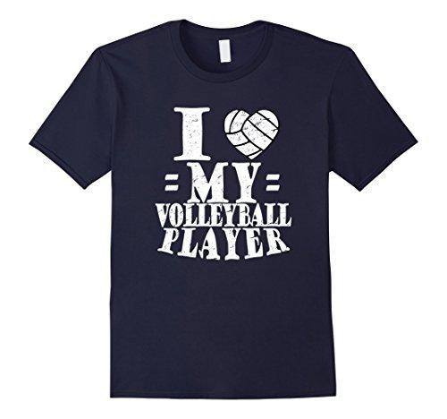 Men's I (Heart) LOVE My Volleyball Player Tshirt MOM DAD GRANDMA 3XL Navy