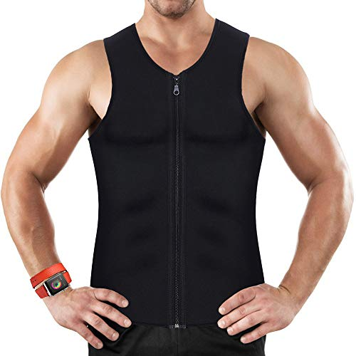 Mens Waist Trainer Vest for Weightloss Hot Neoprene Corset Body Shaper Zipper Sauna Tank Top Workout Shirt (Black, X-Large)