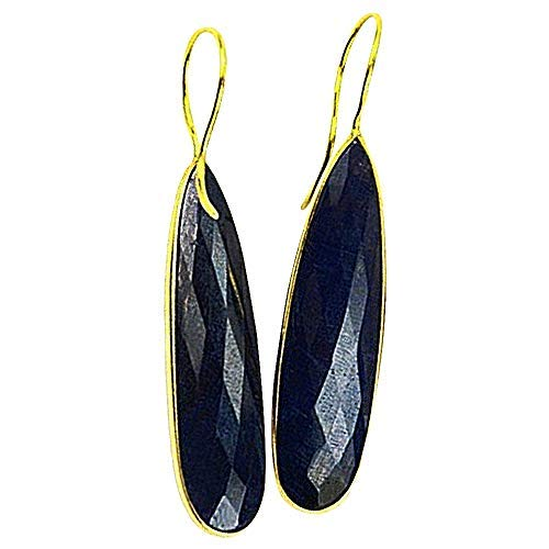 22k Gold Plated Blue Sapphire Gemstone Earrings 11X57mm (Appx)(SHER-90049). Anniversary Blue Sapphire Ring