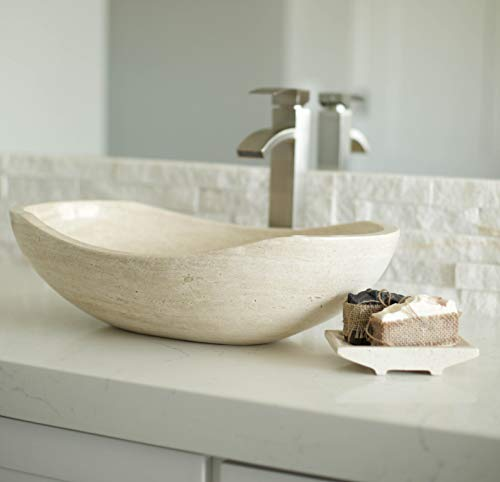 Luxurious Polished Marble Bathroom Vessel Sink, Oval Canoe Shape, 100% Natural Stone, Hand Carved, Free Matching Soap Tray (Tan Travertine)