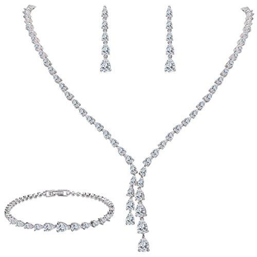 EleQueen Women's Silver-tone Full Cubic Zirconia Teardrop Bridal Necklace Set Tennis Bracelet Dangle Earrings Clear