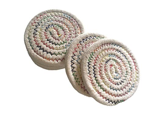 - 6x Braided Coaster For Drink Dining Table Absorbent Woven Coasters Set Living Room Office Colorful (Round)