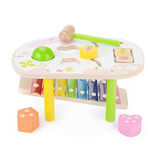 KAJA Wooden Pound and Tap Bench with Slide Out Xylophone Durable Pounding Hammering with Mallet Preschool Educational Toys for 1 2 3 Year Old Kids Babies(Rabbit)