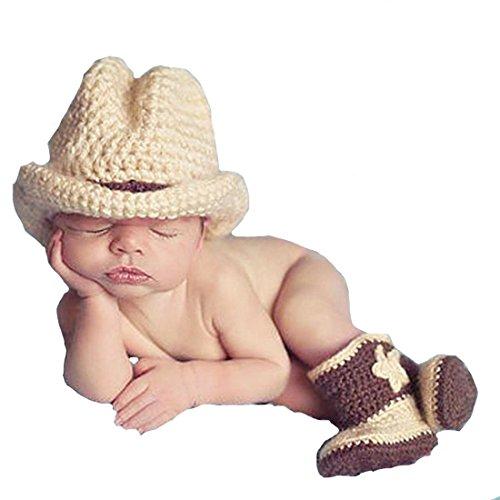 Memorz Newborn Infant Girl Boy Baby Handmade Crochet Knitted Costume Lovely Cowboy Clothes Photography Cap Hat Photo Prop (Khaki)]()