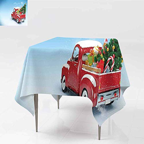 Jbgzzm Christmas Waterproof Tablecloth Red Classical Pickup Truck with Tree Gifts and Ornaments Snowy Winter Day Image for Kitchen Dinning Tabletop Decoration W63 xL63 Blue Red