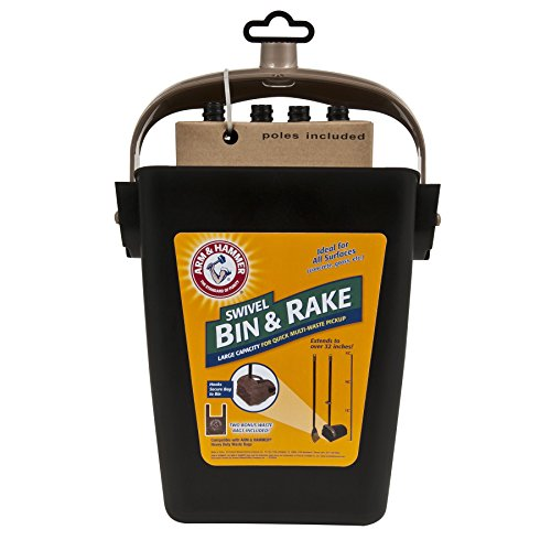 Petmate 71034 Arm & Hammer Swivel Bin & Rake Pooper Scooper, Scented Bags Included, One Size, Black/Penny - Set Rake
