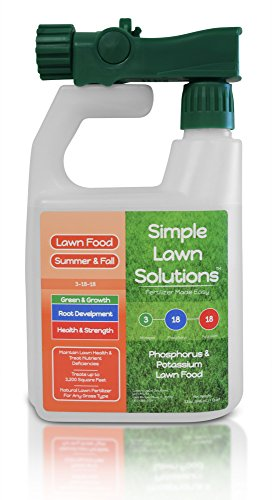 High Phosphorus Soil - Ultimate 3-18-18 NPK- Lawn Food Natural Liquid Fertilizer- Concentrated Spray- Any Grass Type- Summer & Fall Nutrients- Simple Lawn Solutions, 32-Ounce- Green, Grow, Root Growth, Health & Strength