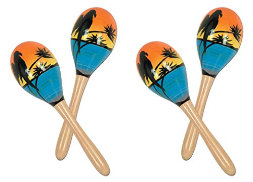 Beistle S60950-8AZ2 Tropical Fun Party Maracas 4 Piece, 8