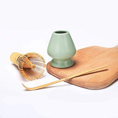 Bamboo Matcha Tea Whisk Set (Chasen) Bamboo Scoop (Chashaku) Ceramic Whisk Holder Ceremonial Starter Matcha Kit for Traditional Japanese Tea Ceremony (plum green) by LTLR (Image #2)