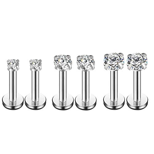 16g CZ Labret Cartilage Tragus Monroe Lip Nose Helix Studs Earrings Stainless Steel Cubic Zirconia Piercings Jewelry 2mm 3mm 4mm 3 Pairs Set