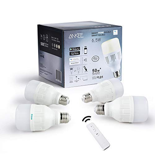 ANKEE Smart LED Light Bulb - E26 WiFi 6.5Watt Warm White Dimmable Group Light Bulbs, Controlled in Unison - No Hub Required, Compatible with Alexa and Google Assistant (4 Pack)