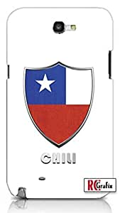 Premium Chili Flag Badge Direct UV Printed Unique Quality Hard Snap On Case for Samsung Galaxy Note 2 Note II N7100 (WHITE)