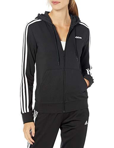adidas Essentials Women's 3-Stripes Hoodie, Black/White, Large (Adidas 3 Stripes Zip Through Hoody Mens)